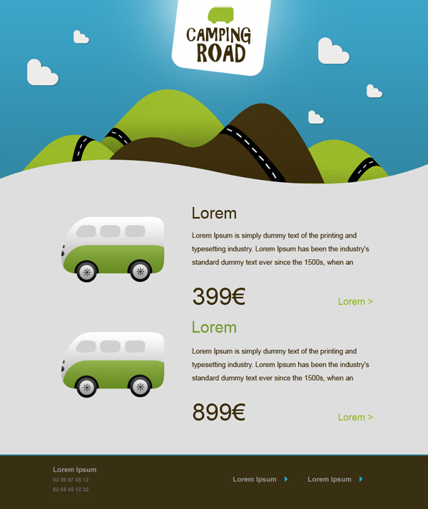 Templates Emailing Camping Road Sarbacane