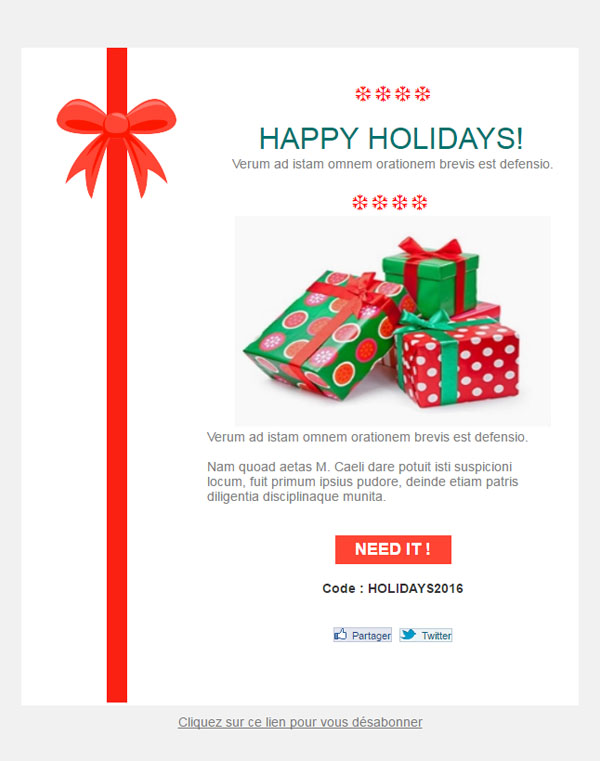 Templates Emailing Christmas Gift Sarbacane