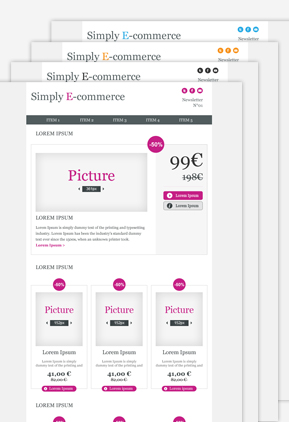 Templates Emailing E-commerce 4 couleurs Sarbacane