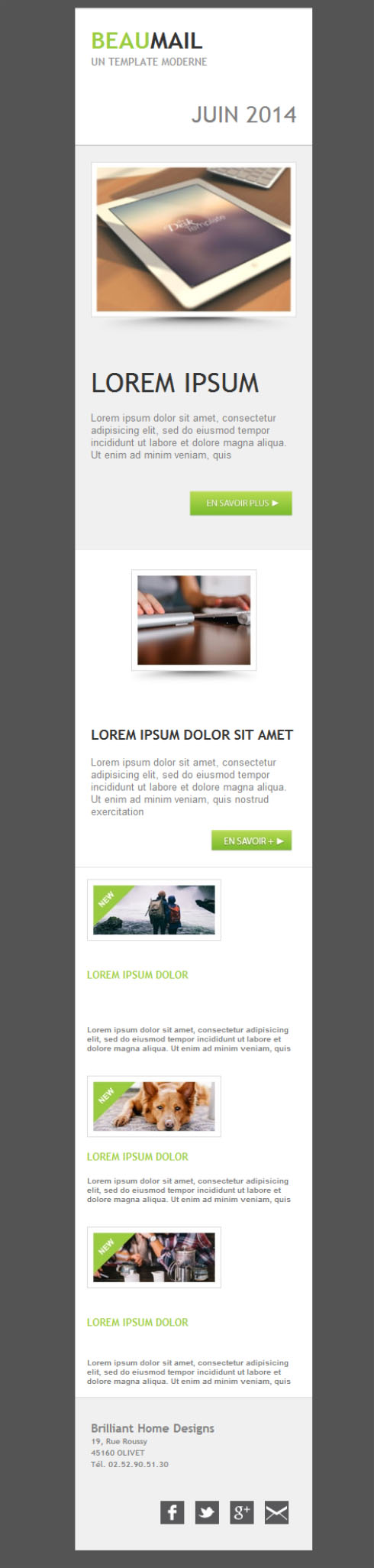 Templates Emailing Nice email - green Sarbacane