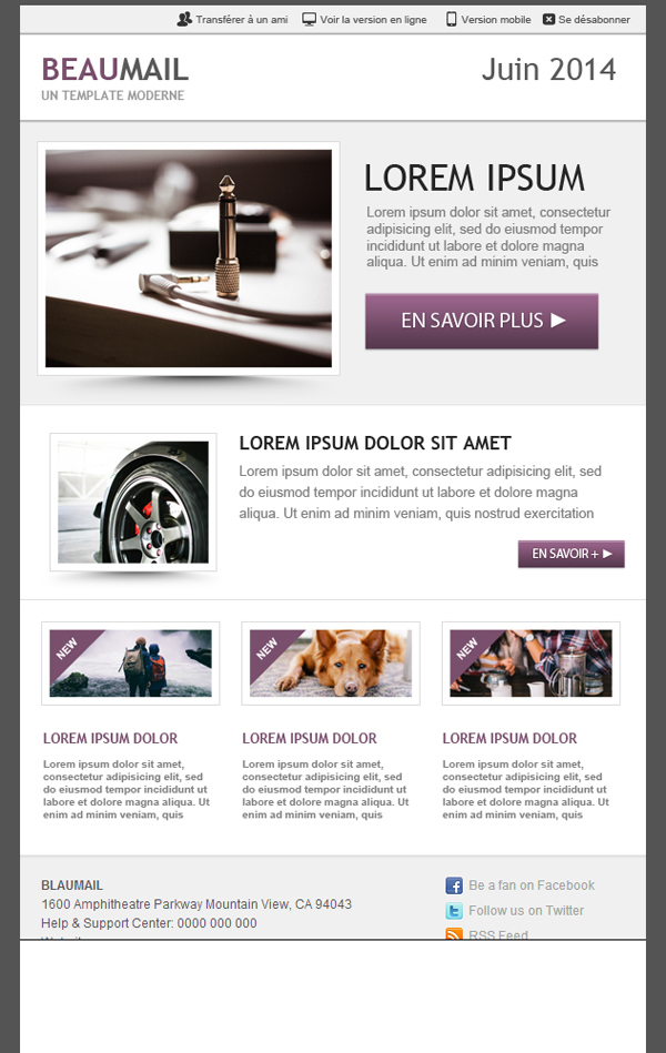 Templates Emailing Nice email - purple Sarbacane