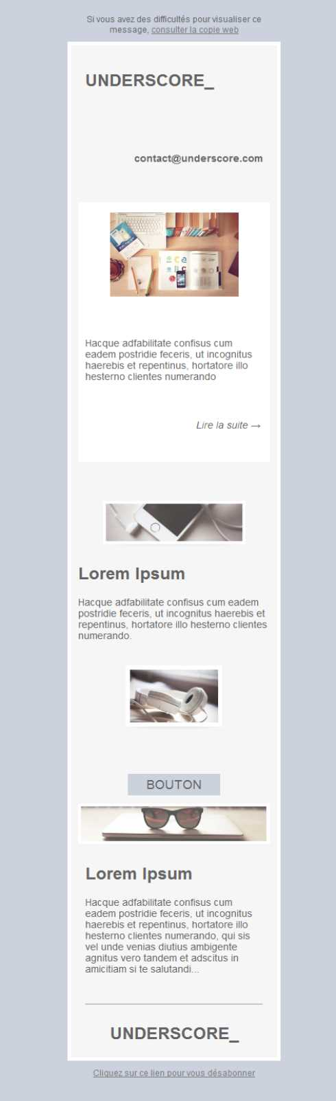 Free email templates - Download design Underscore