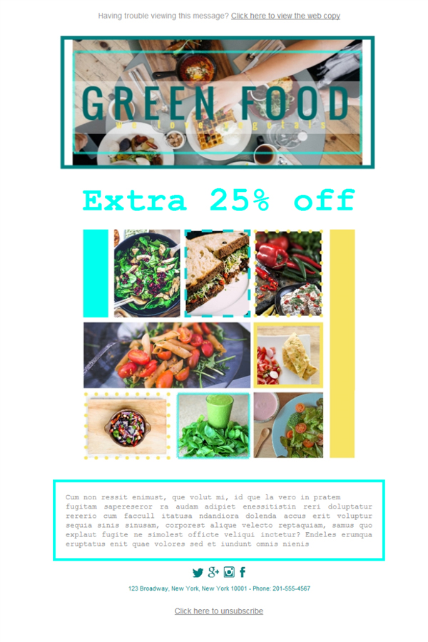 Templates Emailing Restaurant Healthy Sarbacane