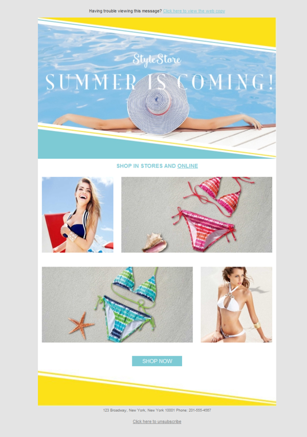 Templates Emailing Clothing Summer Sarbacane