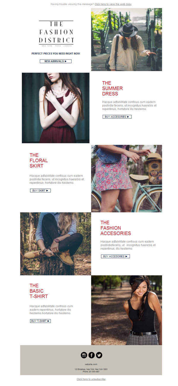 Templates Emailing Clothing Fashion District Sarbacane