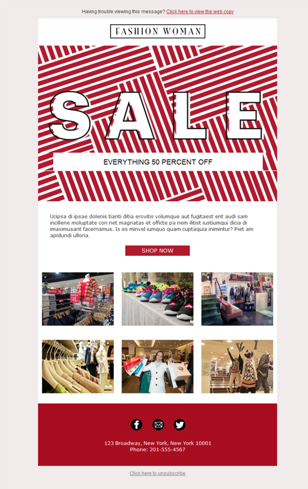 Templates Emailing Clothing Sale Sarbacane