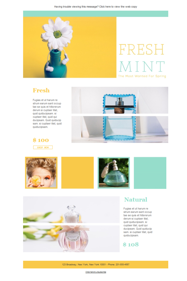 Free Email Templates Download Design Cosmetics FreshMint - Ecommerce email templates free download