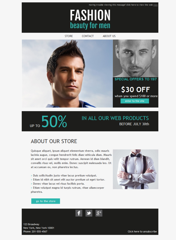 Templates Emailing Cosmetics Men Sarbacane