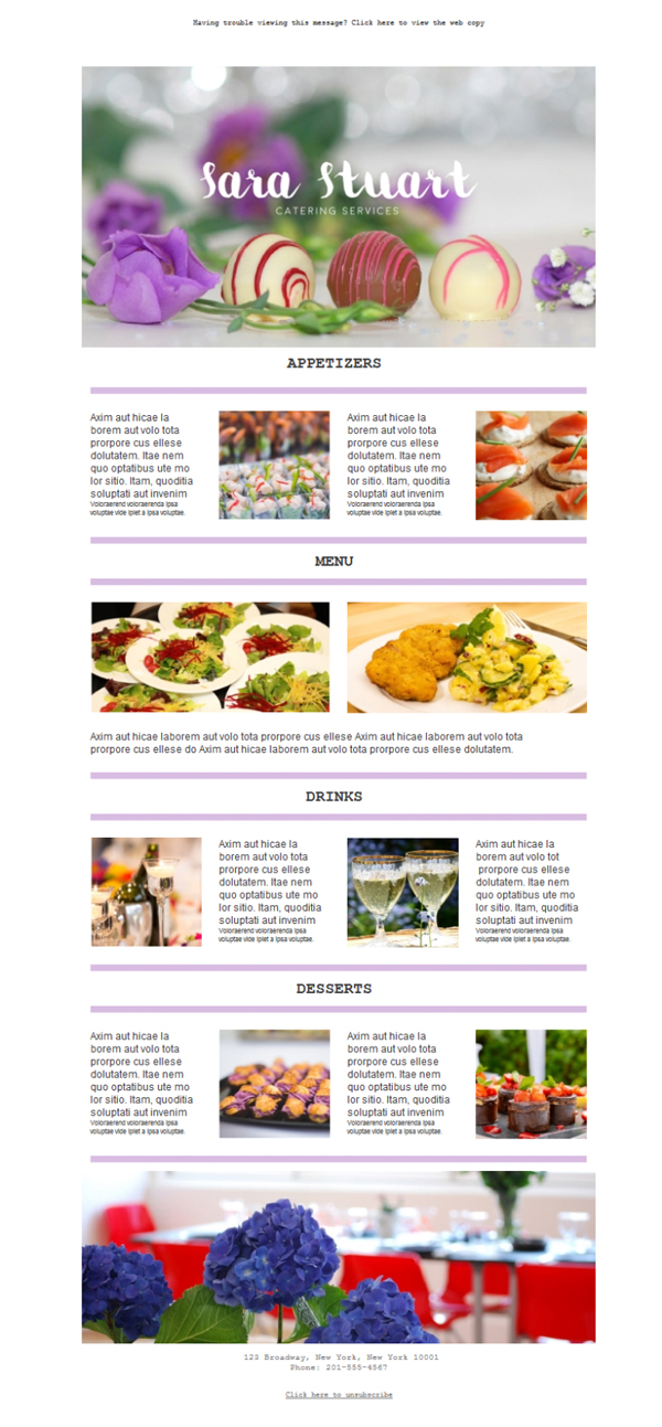 Templates Emailing Catering Services Sarbacane