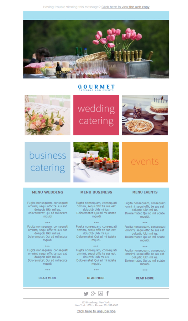 Templates Emailing Catering Gourmet Sarbacane