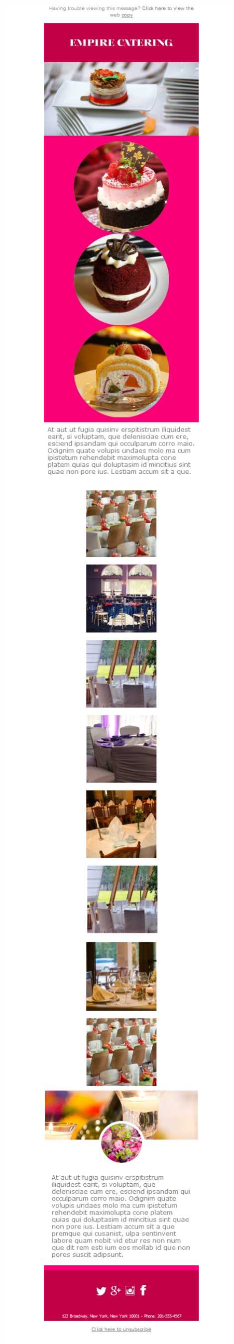 Templates Emailing Catering Empire Sarbacane