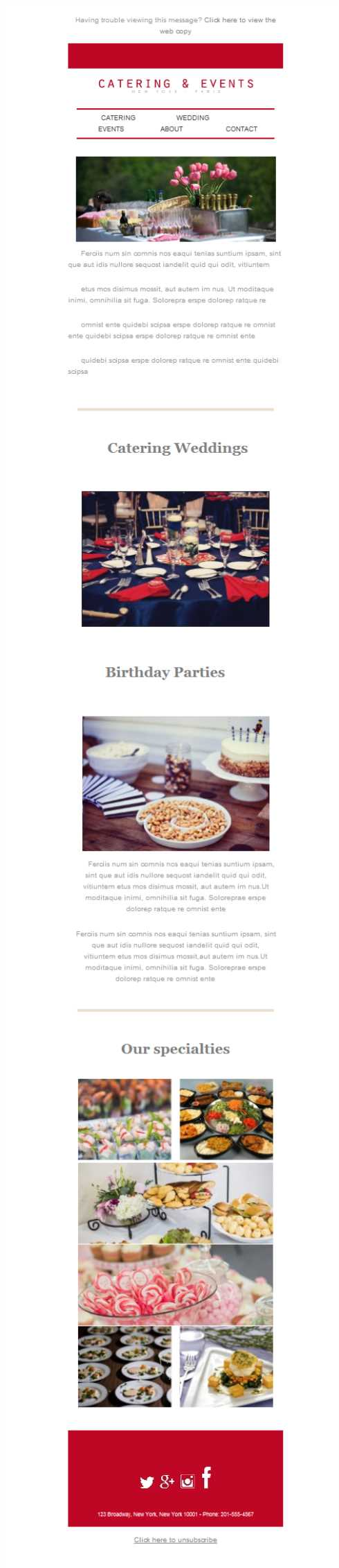 Free email templates download design catering events for Catering email template
