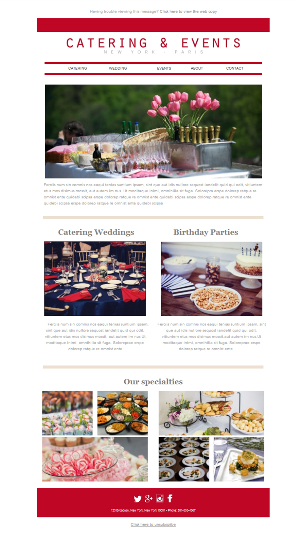 Templates Emailing Catering Events Sarbacane