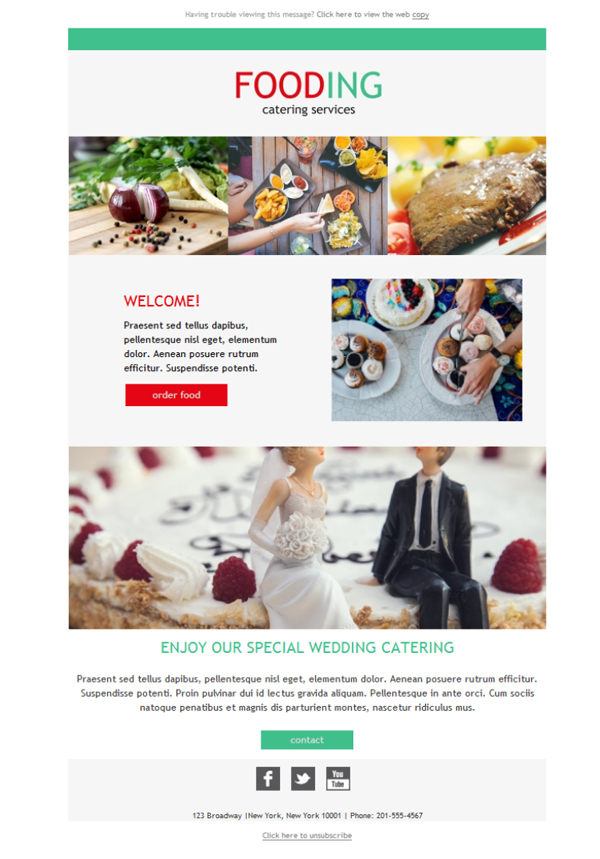 Free email templates download design catering fooding for Catering email template
