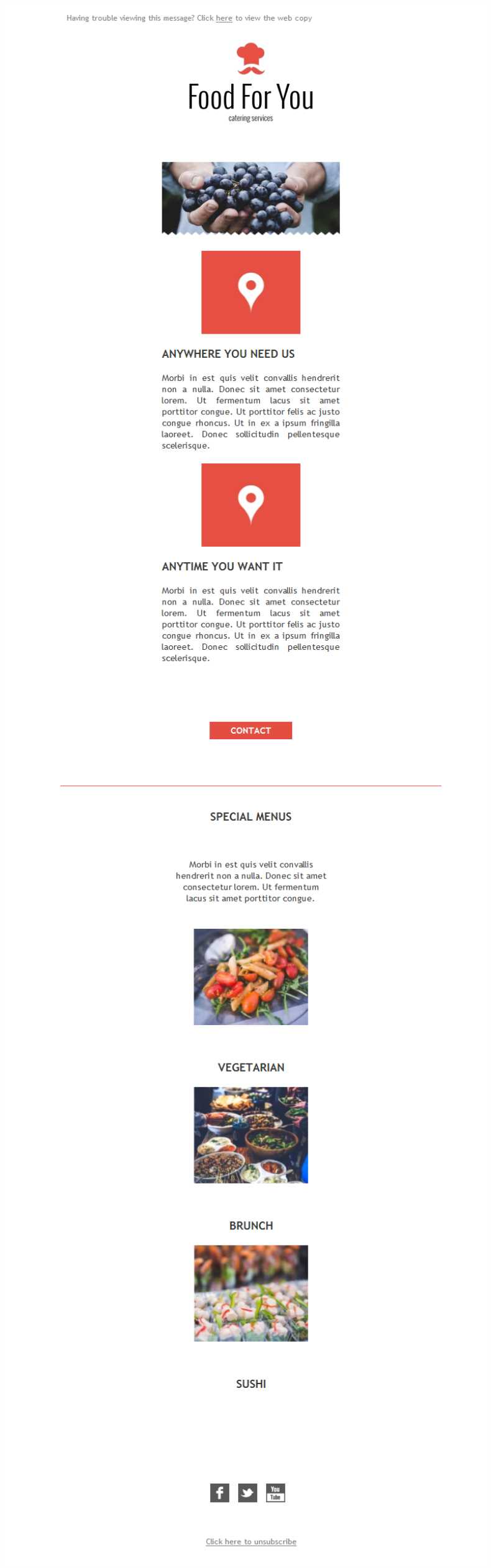Free email templates download design catering for you for Catering email template