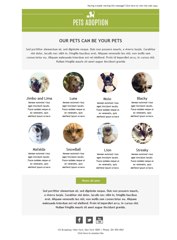 Templates Emailing Pets Adoption Sarbacane