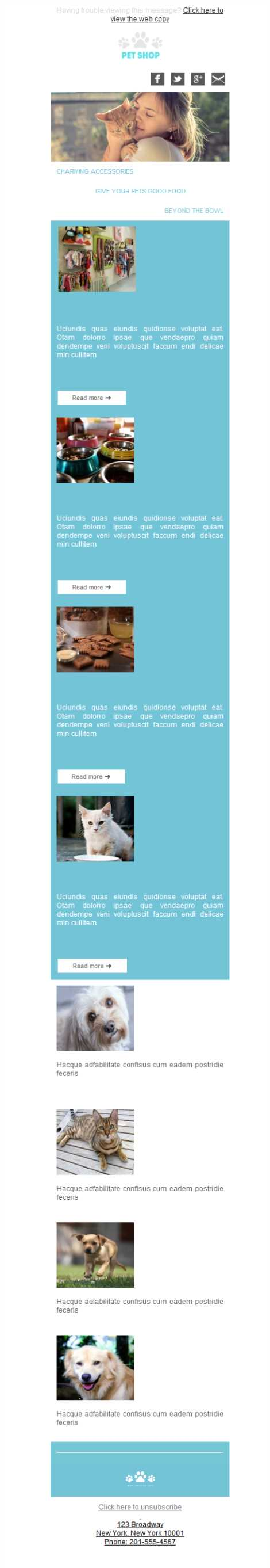 Templates Emailing Pet Shop Sarbacane