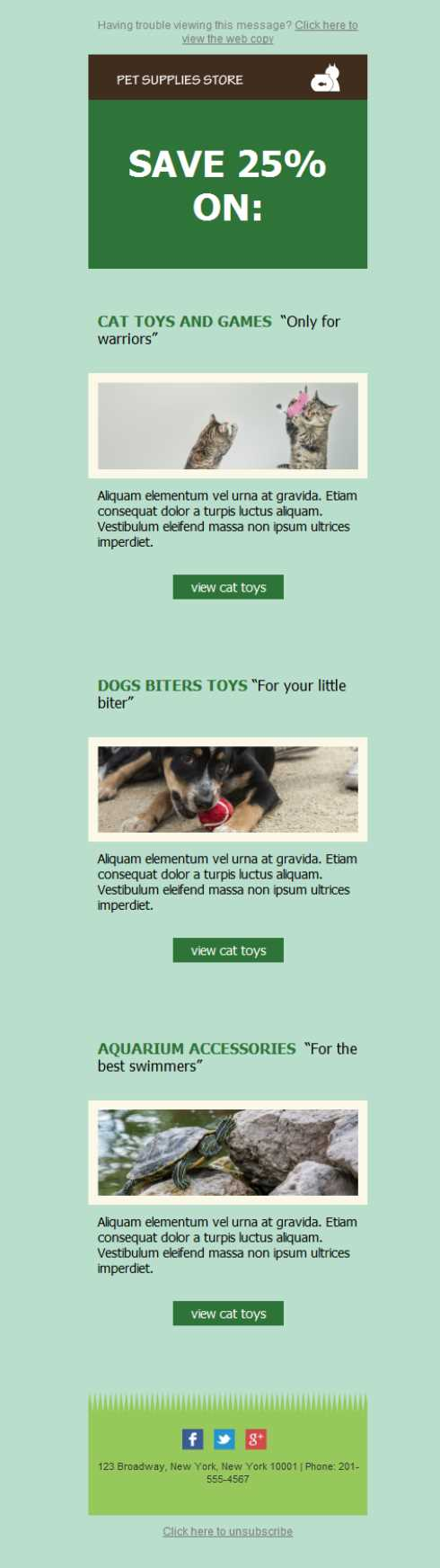 Templates Emailing Pet Supplies Sarbacane