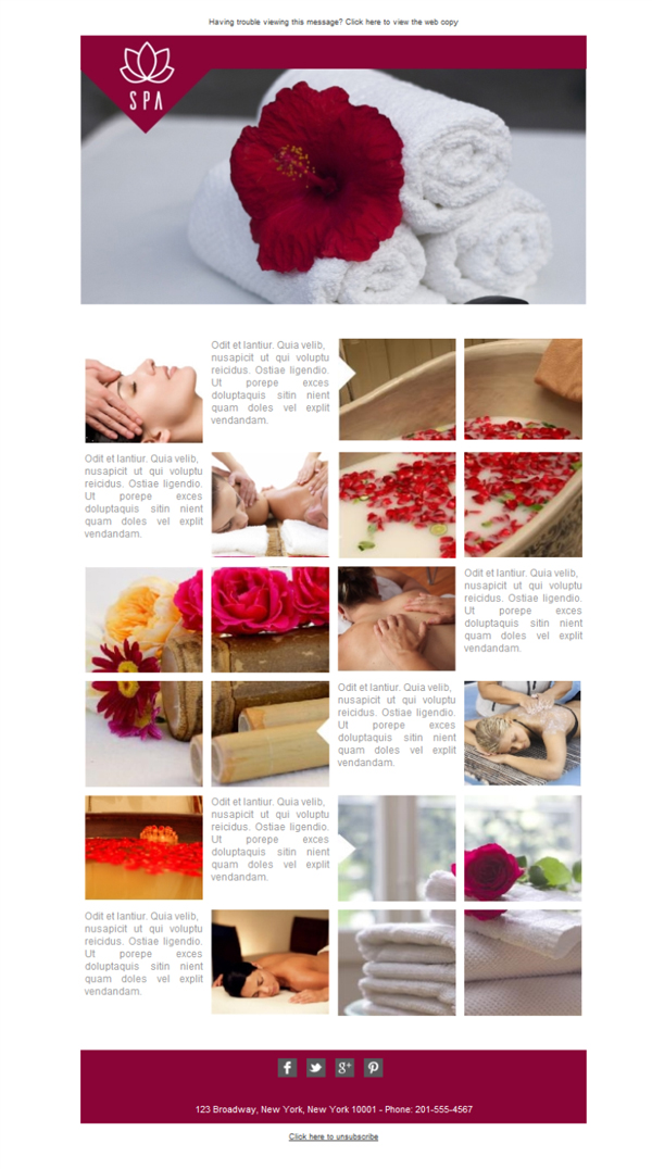 Templates Emailing Spa Rose Sarbacane