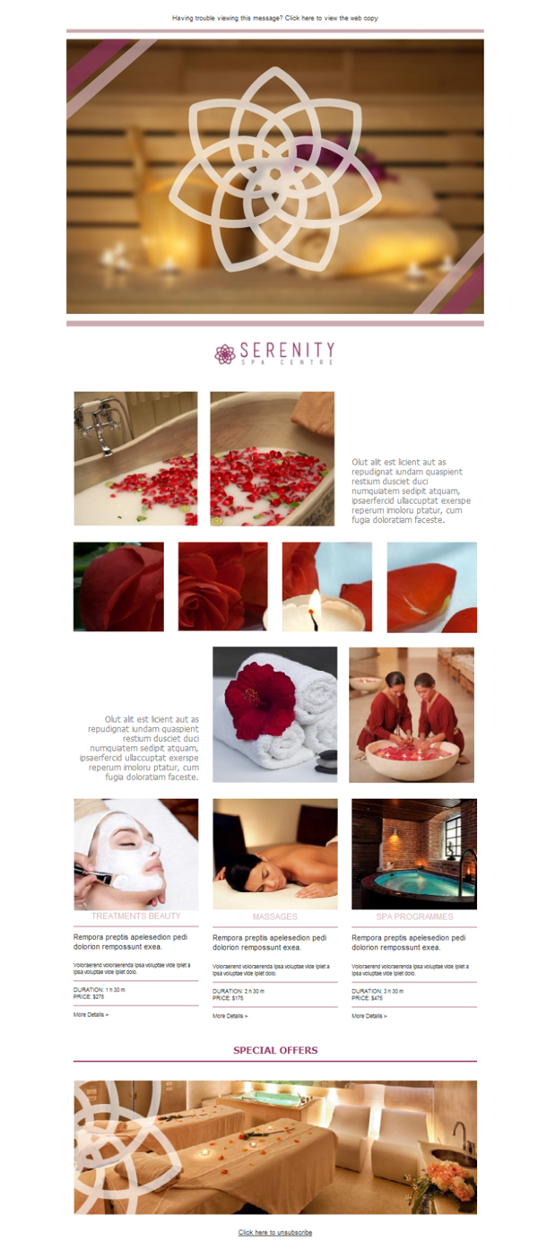 Templates Emailing Spa Serenity Sarbacane