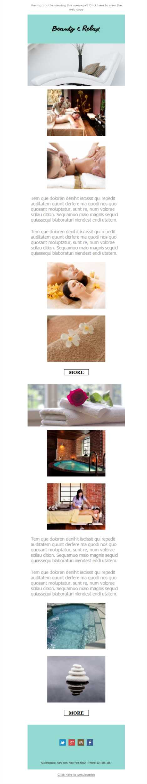 Templates Emailing Spa Beauty Relaxation Sarbacane