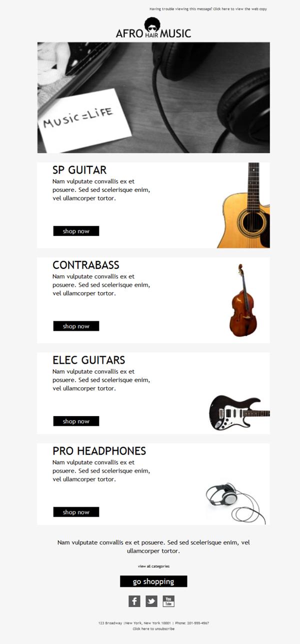 template emailing gratuit t l chargez le mod le ecommerce music. Black Bedroom Furniture Sets. Home Design Ideas