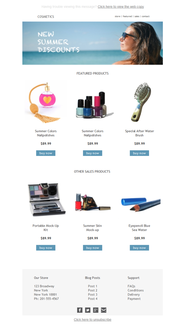 Free Email Templates Download Design Ecommerce Cosmetics - Ecommerce email templates free download