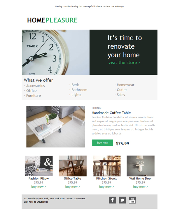 Templates Emailing Ecommerce Home Goods Sarbacane