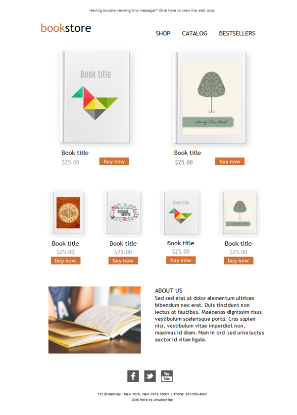 Templates Emailing Ecommerce Bookstore Sarbacane