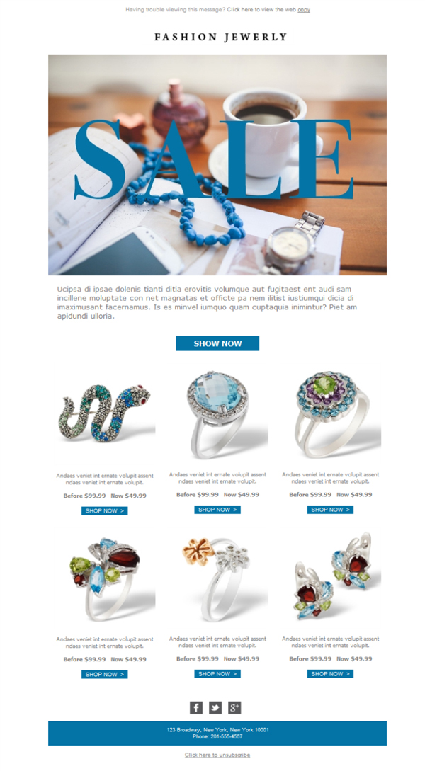 Templates Emailing Jewelry Fashion Sarbacane