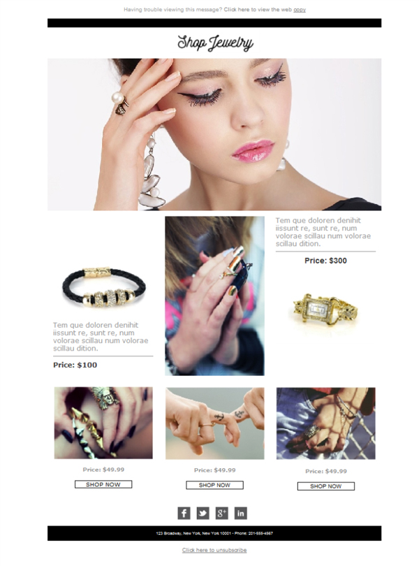 Templates Emailing Jewelry Shop Sarbacane