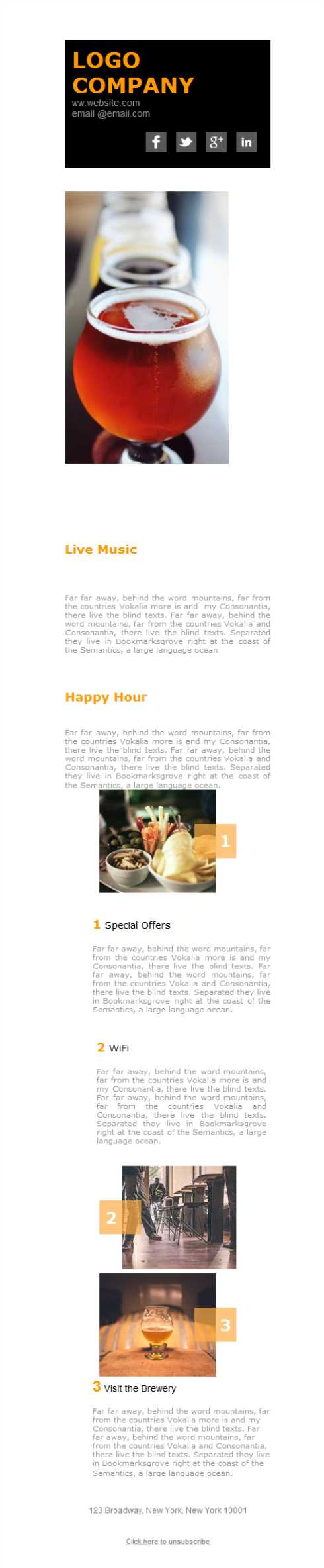 Templates Emailing Brewery Happy Hour Sarbacane