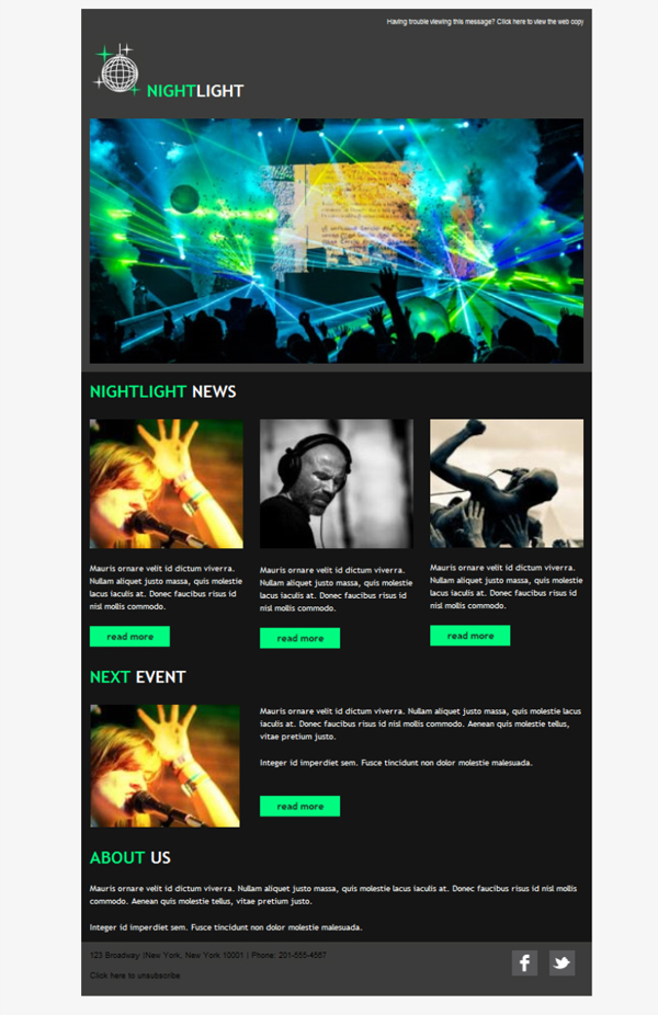 Templates Emailing Bar Nightclub Lights Sarbacane