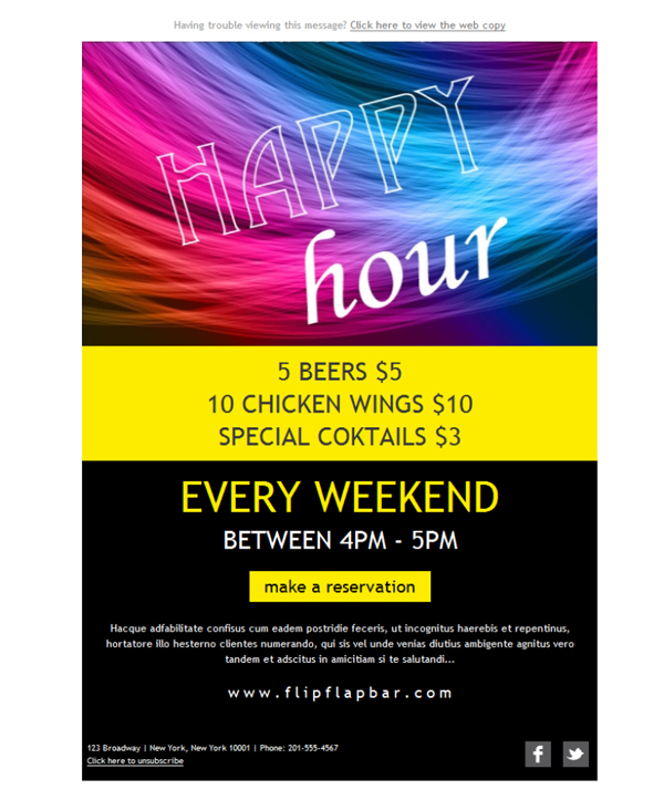 Templates Emailing Bar Happy Hour Sarbacane