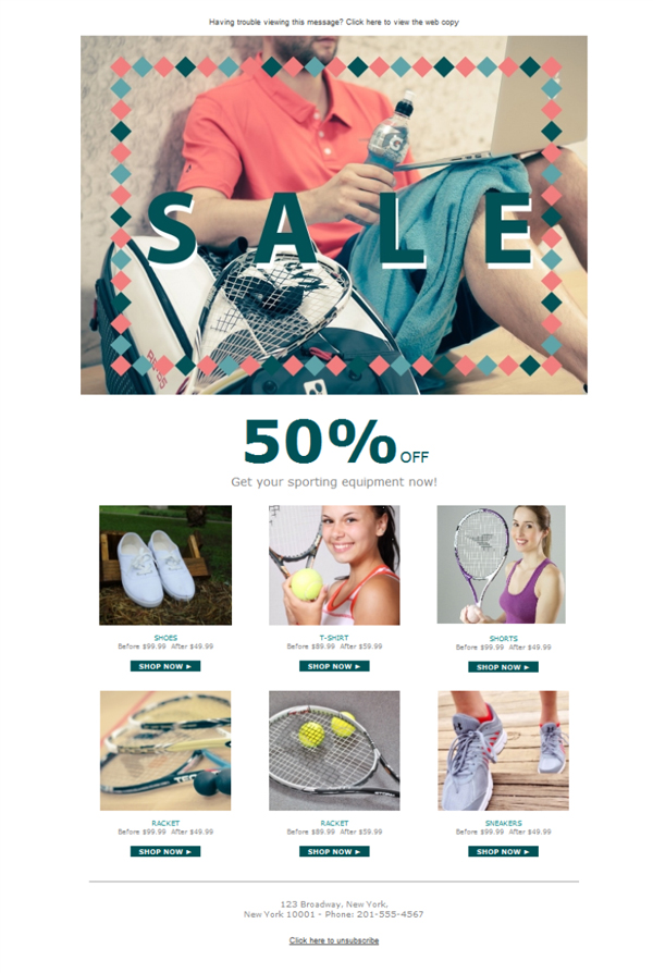 Templates Emailing Sports Store Sale Sarbacane