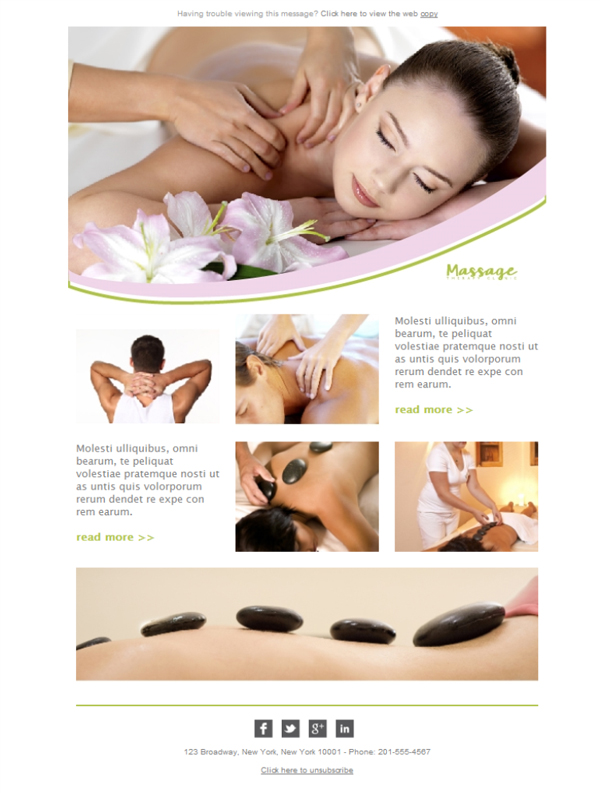 Templates Emailing Massage Therapies Sarbacane