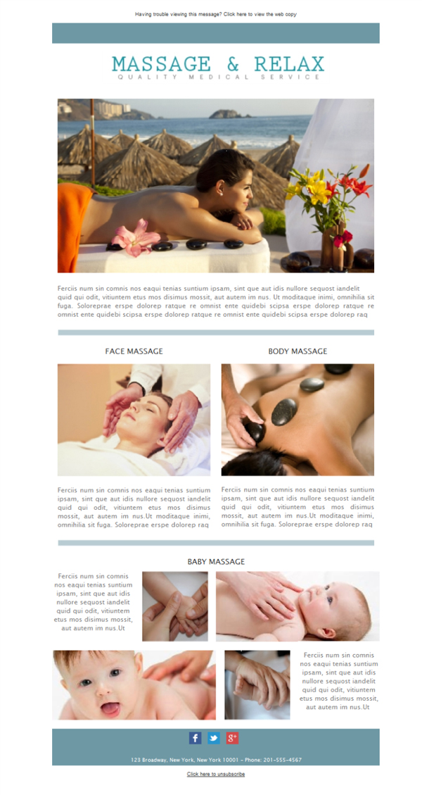 Templates Emailing Massage and Relax Sarbacane