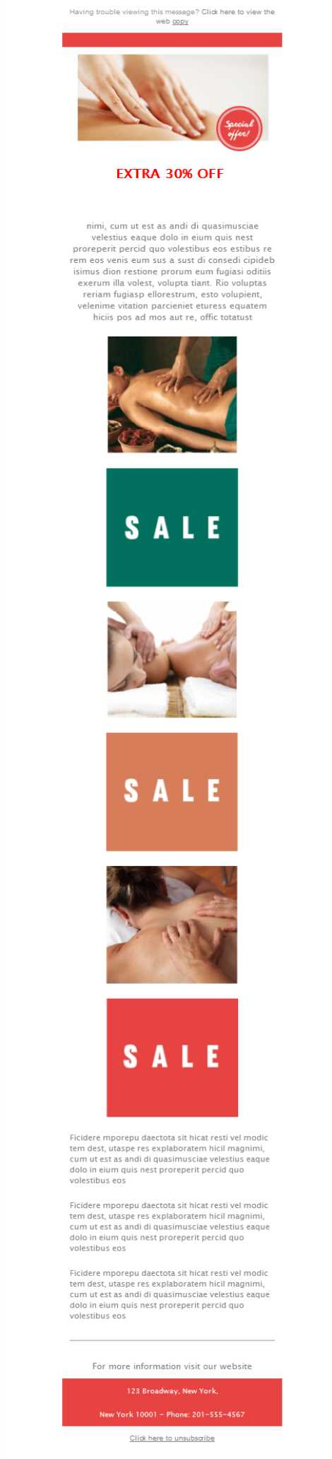 Templates Emailing Massage Sale Sarbacane