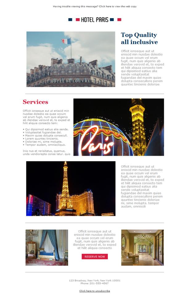 Kostenlose Newsletter-Vorlagen | Laden Sie Hotel Paris