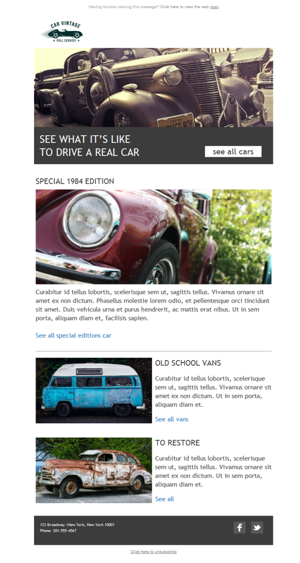 Templates Emailing Car Dealer Vintage Sarbacane