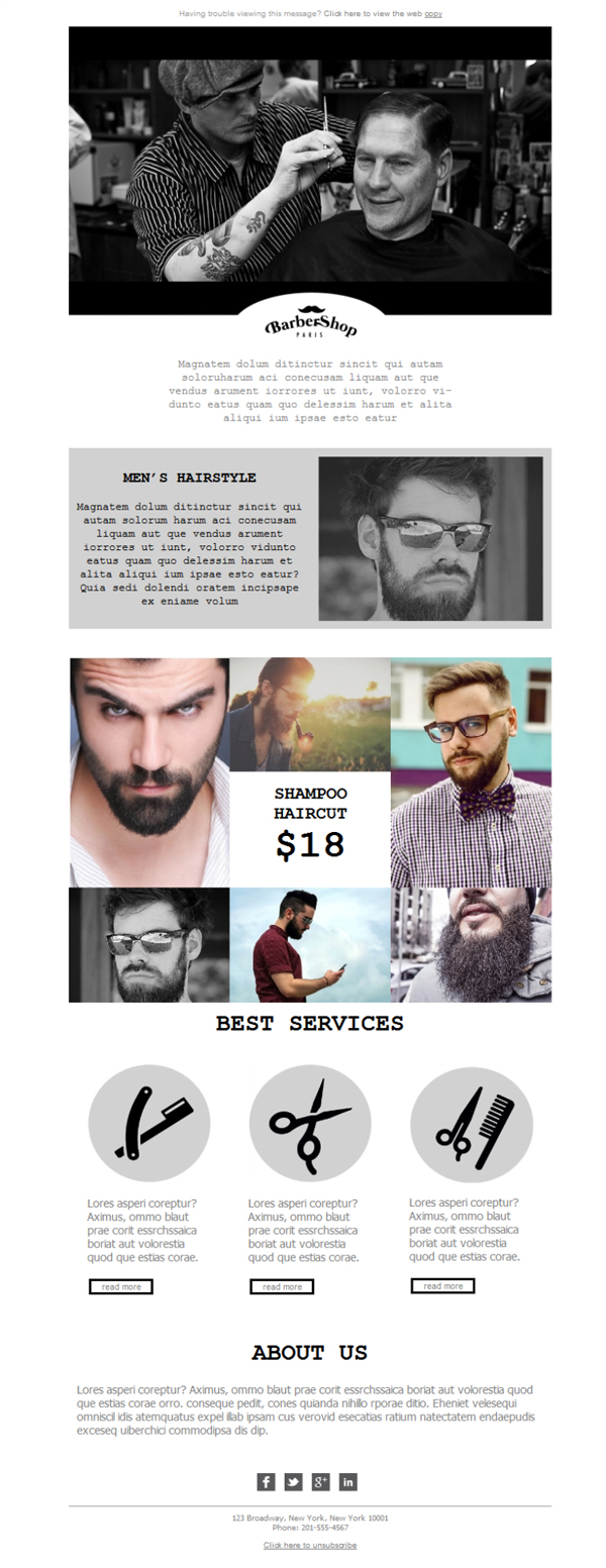 Templates Emailing Hair Salon Barber Sarbacane