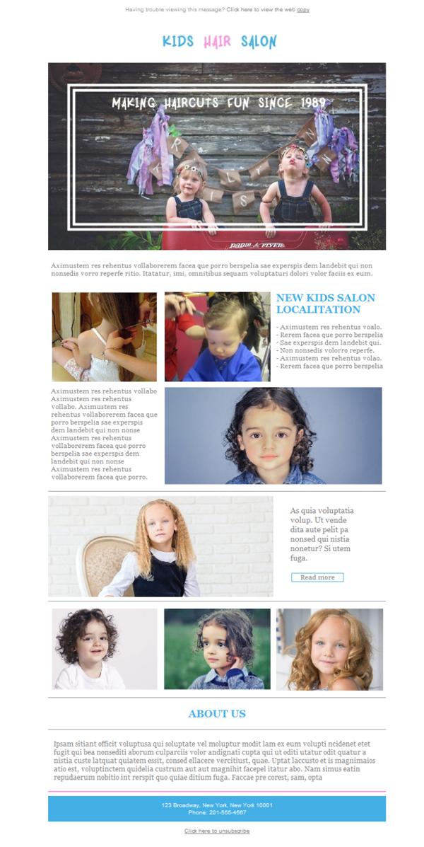 Templates Emailing Hair Salon Kids Sarbacane