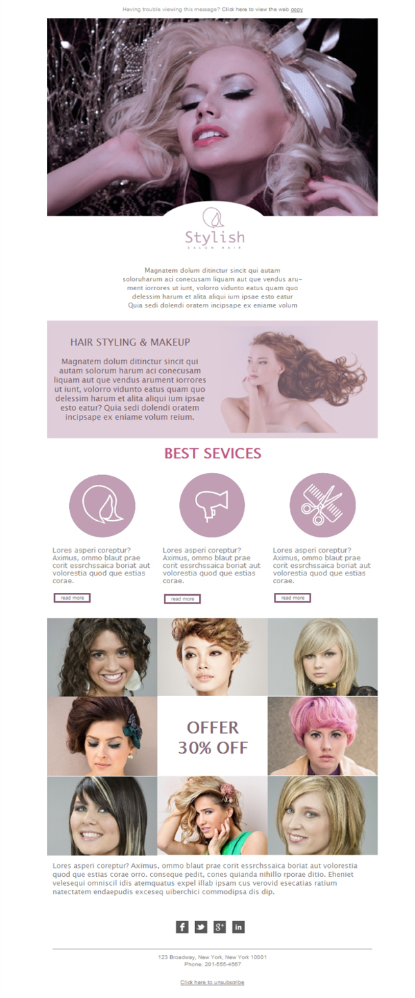 Templates Emailing Hair Salon Sarbacane