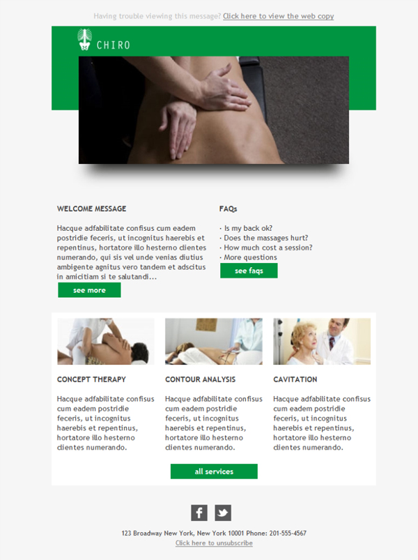 Templates Emailing Chiropractor Green Sarbacane