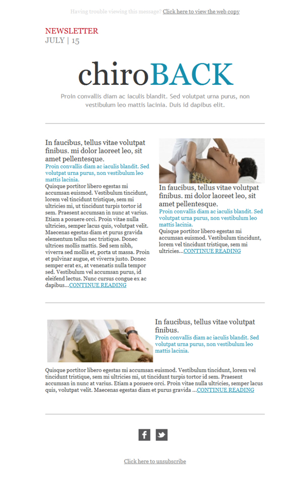 Free email templates - Download design Chiropractic Newsletter