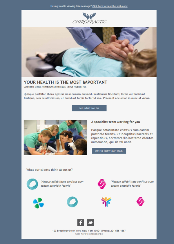 Free email templates - Download design Chiropractic Health