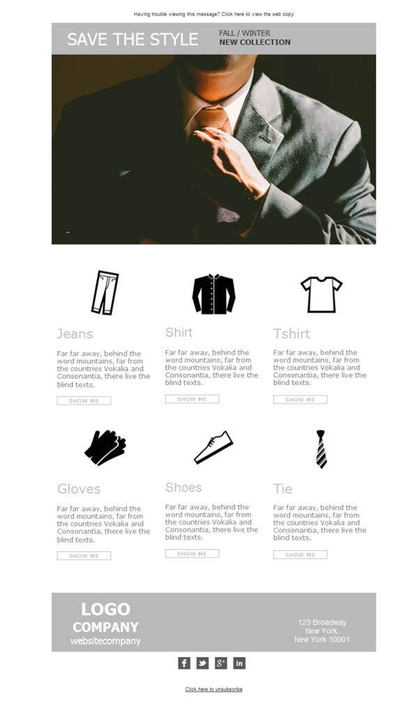 Templates Emailing Mens Clothes Collection Sarbacane