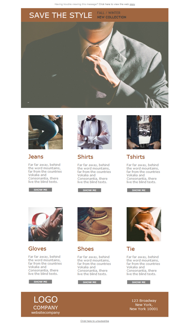Templates Emailing Mens Clothes Style Sarbacane