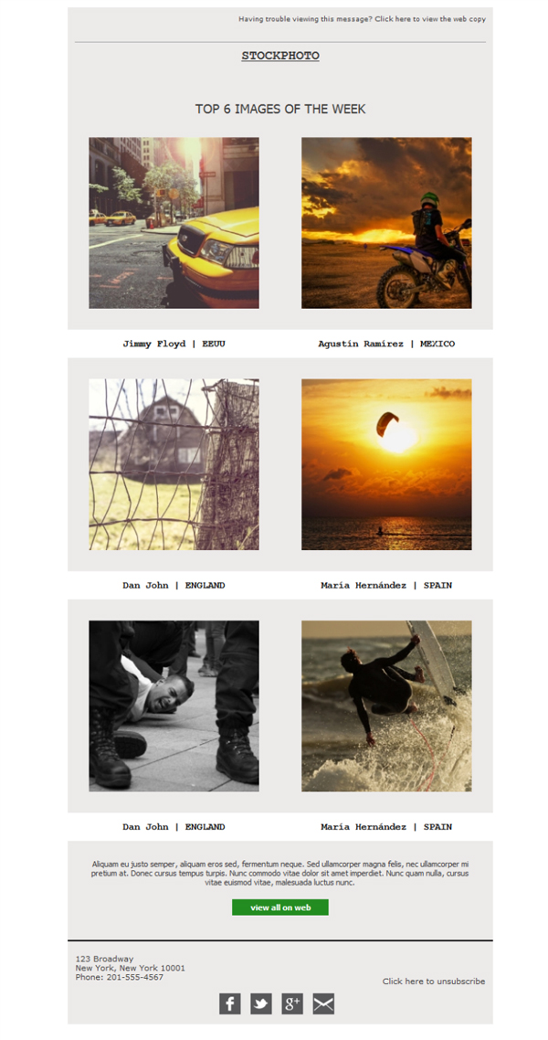 Templates Emailing Photographer Stock Sarbacane