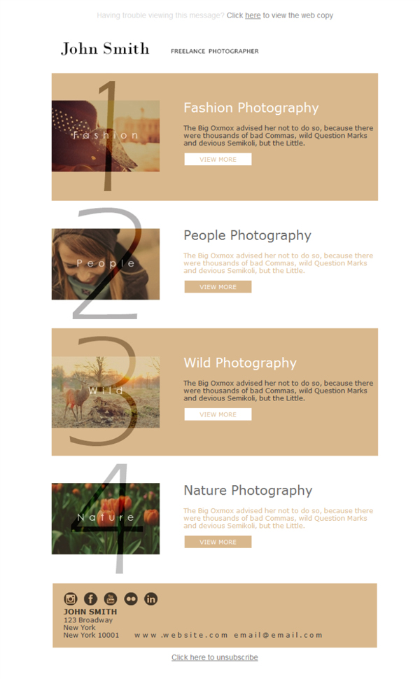 Templates Emailing Photographer Freelancer Sarbacane